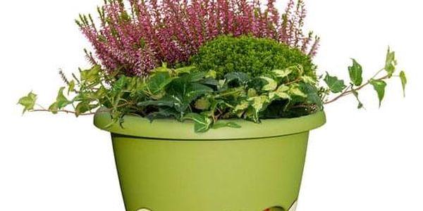Samozavlažovací závěsný květináč Mareta, šedá + zelená, 30 cm, Plastia, pr. 30 cm2
