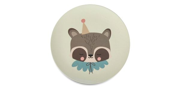EEF lillemor Bambusové nádobí pro děti Circus Raccoon - set 5 ks, zelená barva, béžová barva5