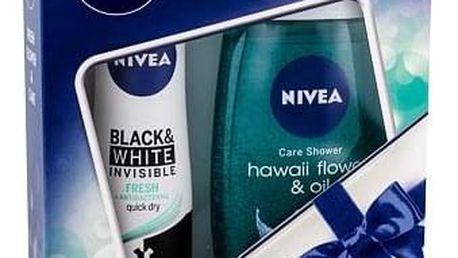 Nivea Hawaii Flower & Oil 250 ml sada sprchový gel 250 ml + antiperspirant Invisible Black & White Fresh 150 ml pro ženy