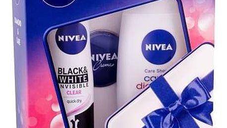 Nivea Care & Diamond 250 ml sada sprchový gel Care & Diamond 250 ml + anti-perspirant Invisible For Black & White Clear 150 ml + Nivea Creme 30 ml pro ženy