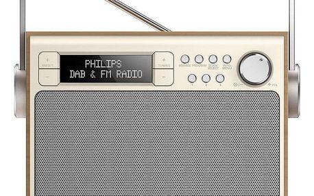 Radiopřijímač s DAB Philips AE5020 zlatý/dřevo