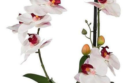 Umělá Orchidej v keramickém květináči bílá, 42 cm 1118033-10