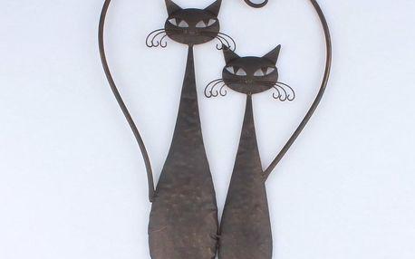 Dakls Kovová dekorace na zeď Cats, 52 cm