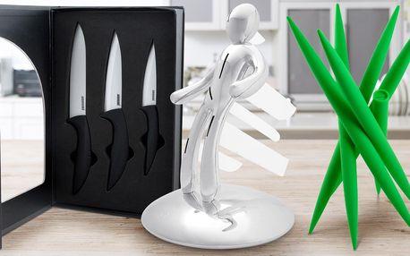 Steakové nebo keramické nože a stojan-panáček