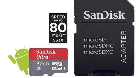 SanDisk Micro SDHC Ultra Android 32GB 98MB/s A1 UHS-I+SDadaptér - ★ Dodatečná sleva v košíku 15 %