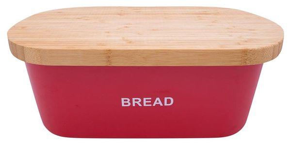 Kovový kontejner na chleba BREAD, 2v1 bambusové prkénko - červená barva, ZELLER2