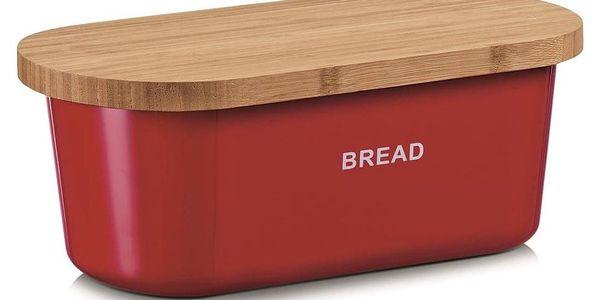 Kovový kontejner na chleba BREAD, 2v1 bambusové prkénko - červená barva, ZELLER3