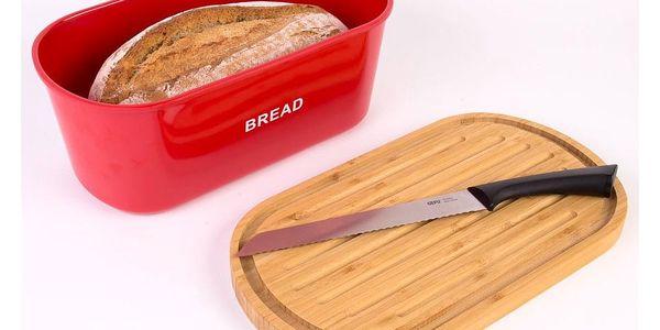 Kovový kontejner na chleba BREAD, 2v1 bambusové prkénko - červená barva, ZELLER4