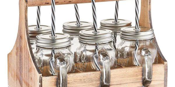 Skříňka na sklenice na nápoje 6 x skelnice se slámkou, dřevěná, ZELLER2