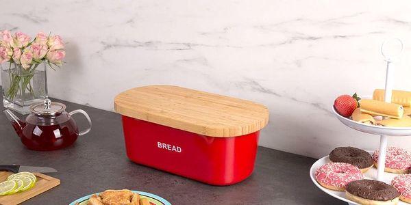 Kovový kontejner na chleba BREAD, 2v1 bambusové prkénko - červená barva, ZELLER5
