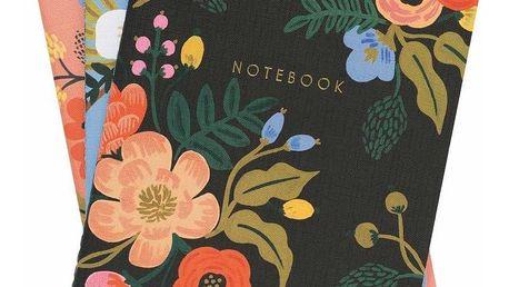 Rifle Paper Co. Linkovaný set notesů Lively Floral - 3 ks, růžová barva, modrá barva, černá barva, multi barva, papír
