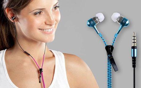 Stylová sluchátka na zip včetně pouzdra