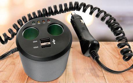 Nabíjecí stanice 3 v 1 do auta: 2x USB a zapalovač