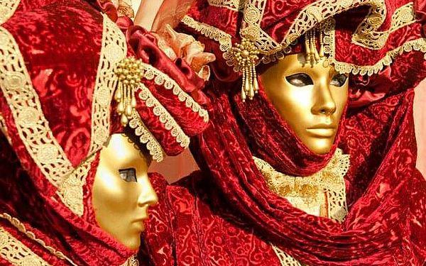 Itálie Benátky karneval 2022 s výlety lodí na ostrovy Murano, Bur..., Benátsko