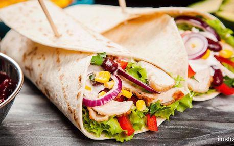 Tortilla dle výběru a hranolky či coleslaw i dip