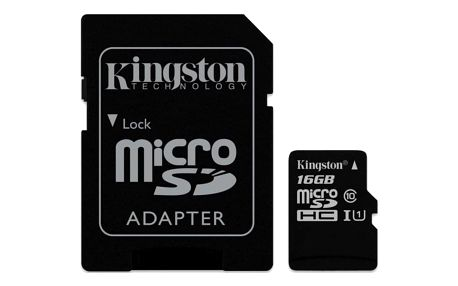 Paměťová karta Kingston Canvas Select MicroSDHC 16GB UHS-I U1 (80R/10W) + adapter (SDCS/16GB)