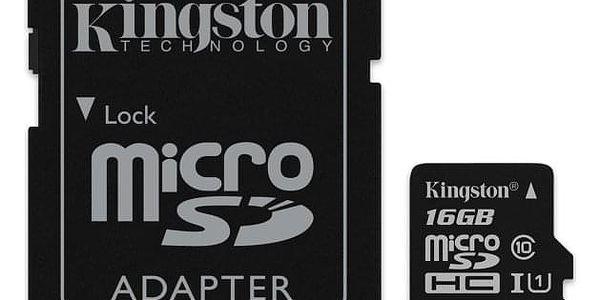 Paměťová karta Kingston Canvas Select MicroSDHC 16GB UHS-I U1 (80R/10W) + adapter (SDCS/16GB)
