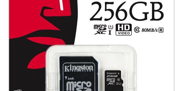 Paměťová karta Kingston MicroSDXC 256GB UHS-I U1 (80R/10W) + adapter (SDCS/256GB)2