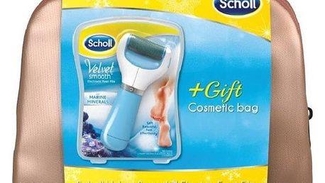 Elektrický pilník na chodidla Scholl Velvet Smooth středně drsný s minerály + kosmetická taška