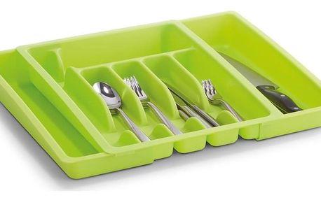 Nastavitelná zelená vložka na příbory, 29-50 x 38 x 6,5, plast, ZELLER