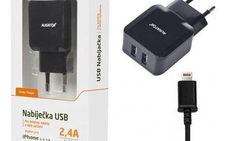 Nabíječka Aligator 2xUSB 2,4A + kabel Lightning, černá