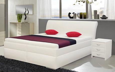 Čalouněná postel MINETA PLUS 2 180x200 cm Ekokůže bílá M01+M01K