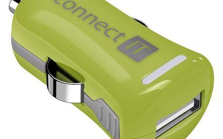 Adaptér do auta Connect IT InCarz COLORZ, 1x USB, 2,1A (V2) zelený (CI-1122)