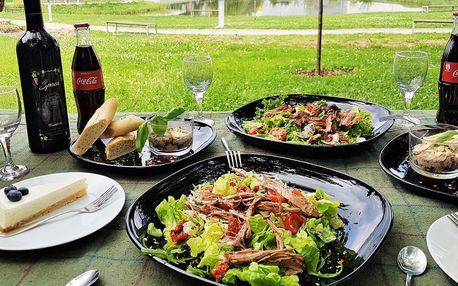 Piknik u jezera: koš plný dobrot i lahev vína