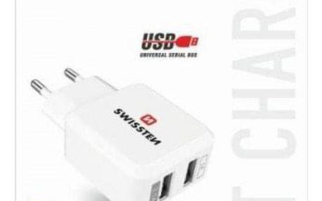 Nabíječka Swissten 2xUSB 2,4A,bílá