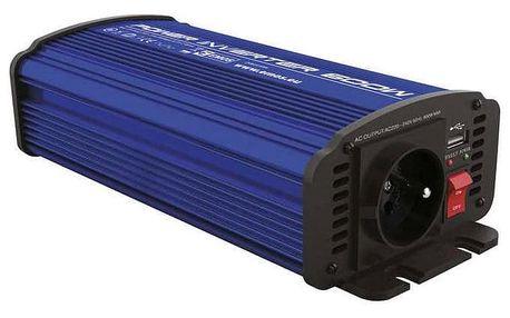 Měnič napětí EMOS do auta 12V/230V, 600W, USB 2100mA (N0037)