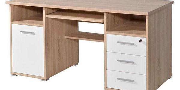 Office - PC stůl (dub sonoma / bílá)