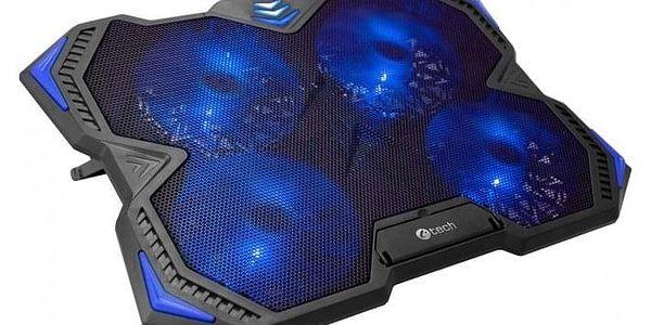 """Chladící podložka pro notebooky C-Tech Zefyros, modré podsvícení, pro 17,3"""" (GCP-01B)"""