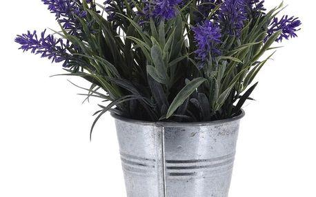Umělá levandule v plechovém květináči tmavě fialová, 24 cm
