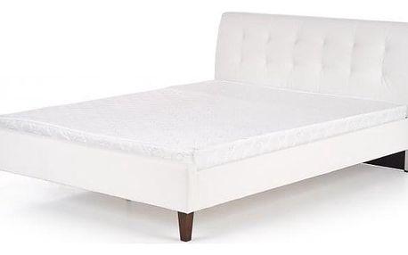 Čalouněná postel Kirsty 160x200, bílá, vč. roštu, bez matrace