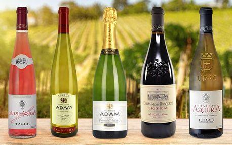 Suchá francouzská vína z vinařství v údolí Rhôny