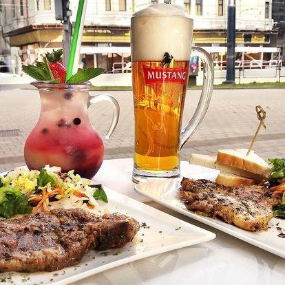 Steak s přílohou, salát i domácí limonáda či pivo