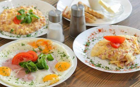 Snídaně: vejce a nápoj podle výběru pro 1 či 2