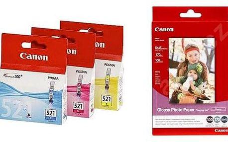 Set (Fotopapír Canon GP 501, foto 10x15 cm, 100 listů) + (Inkoustová náplň Canon CLI-521, 350 stran)