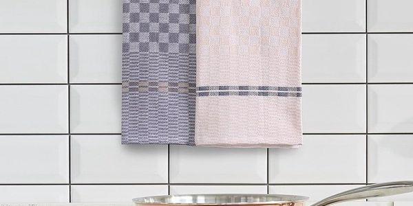 DecoKing Kuchyňská utěrka Louie tm. šedá, béžová, 50 x 70 cm, sada 10 ks2