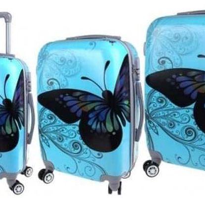 Sada 3 skořepinových kufrů (Blue Butterfly)