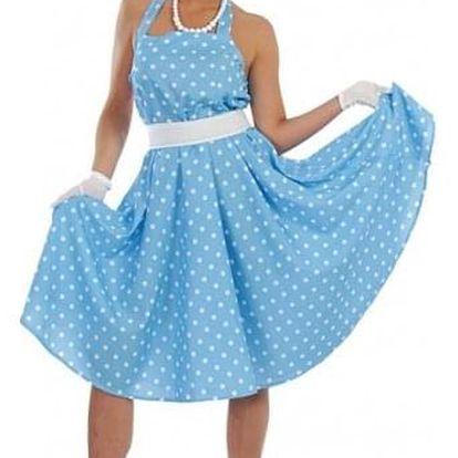 SANDY - 60 tá léta - modrobílé šaty
