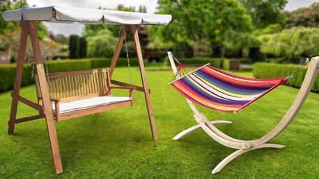 Zahradní houpací lehátko i dvoumístná lavice