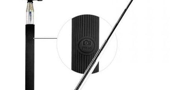 Selfie tyč C-TECH až 107cm, kovová, bluetooth, otočná 180°