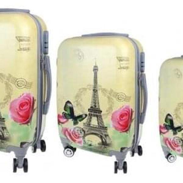 Sada 3 skořepinových kufrů (Žlutý - Eiffelovka)