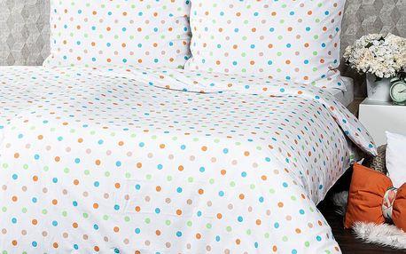 4Home Bavlněné povlečení Dots oranžová, 140 x 200 cm, 70 x 90 cm