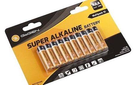 Baterie alkalická GoGEN SUPER ALKALINE AAA, LR03, blistr 10 ks (GOGR03ALKALINE10)