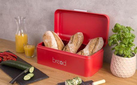 EH Excellent Houseware Kovový kontejner na chleba - barva červená