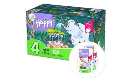 BELLA HAPPY Maxi 4 Big TOY BOX (8-18 kg), 132 ks – jednorázové pleny