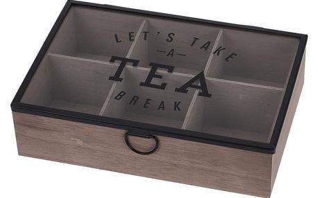 Box na čaj se skleněným víkem, 6 sekcí, MDF