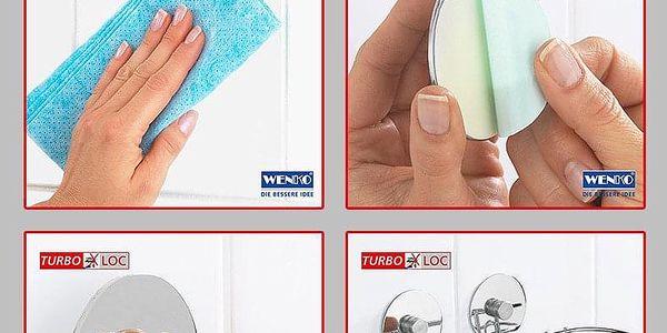 Koupelnový košík do sprchového koutu Turbo-Loc, 2 háčky - nerez ocel, WENKO4